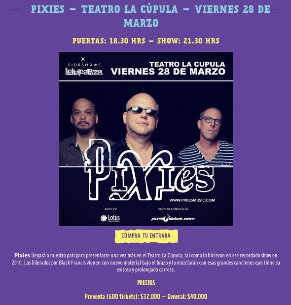 Aviso Pixies Oficial
